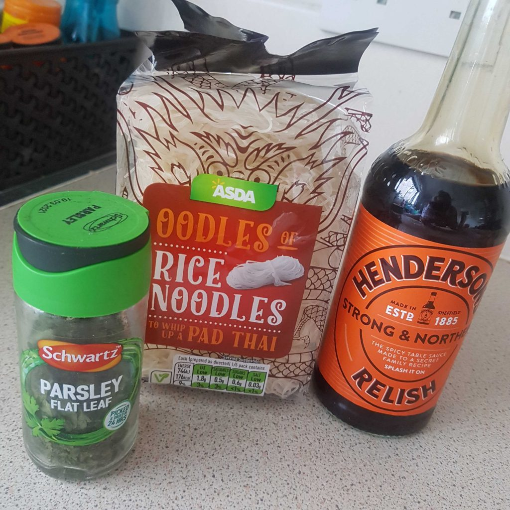 rice noodles hendersons relish parsley leaf