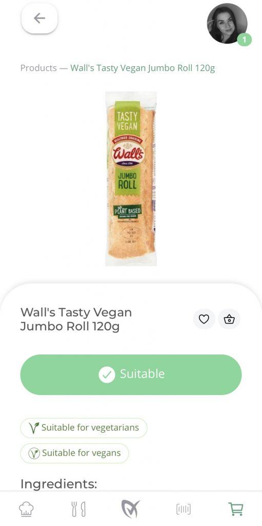 Walls Tasty Vegan Jumbo Roll on LiberEat App