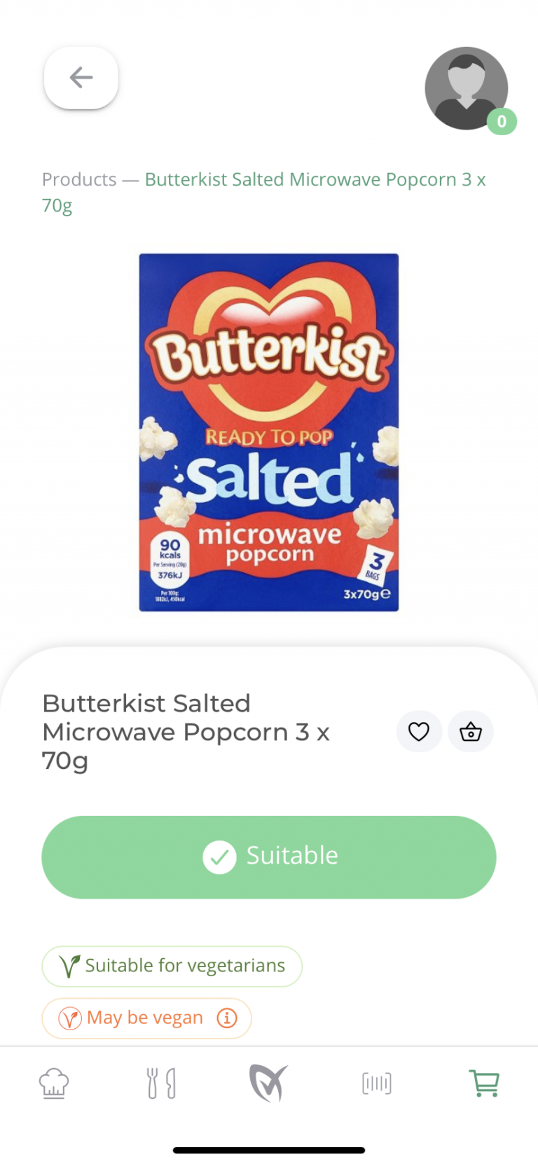 Butterkist salted microwave popcorn