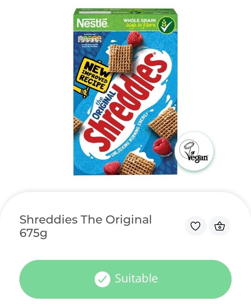 Shreddies, vegan cereal