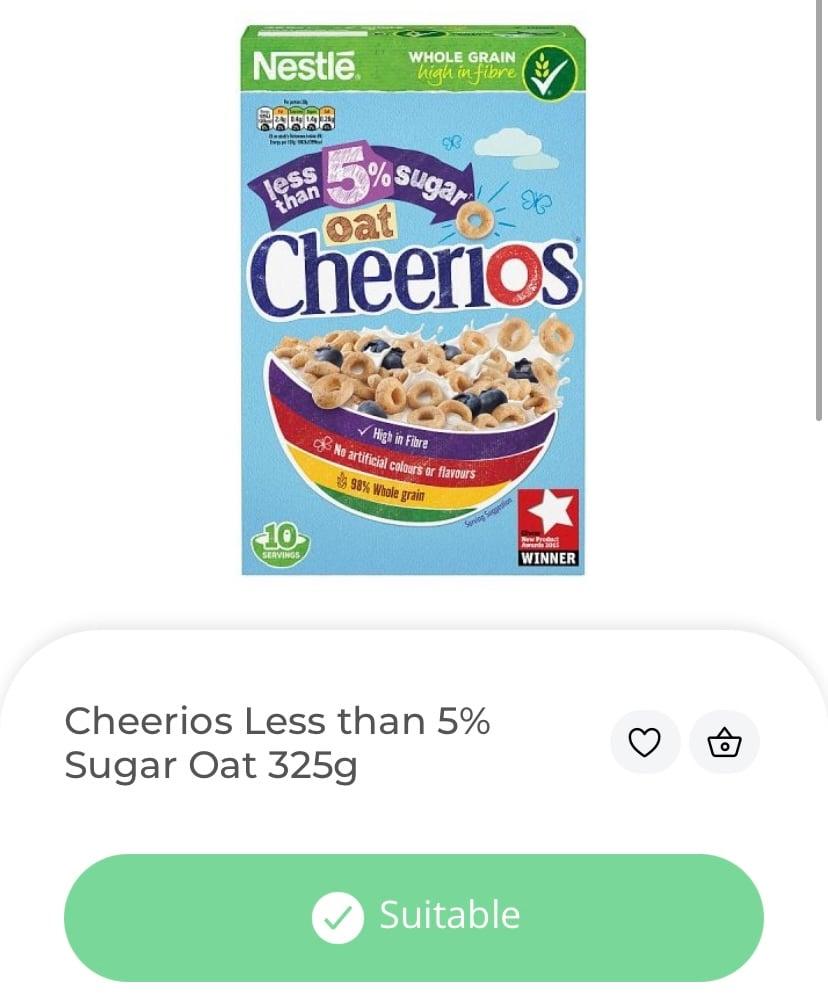 Cheerios, low sugar. vegan cereal