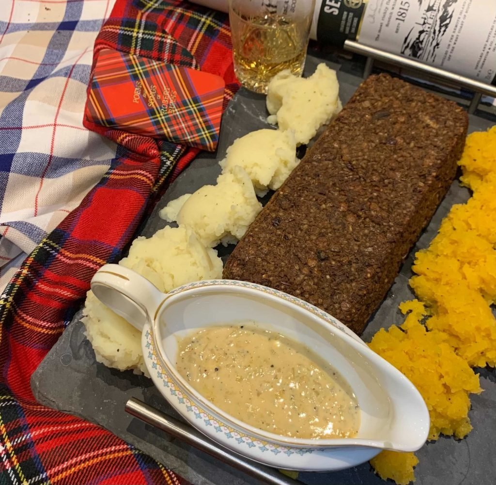 Vegan and gluten-free haggis